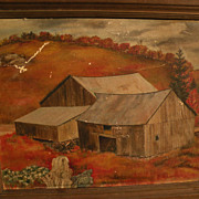 CHARLES TRUMBO HENRY (1902-1964) tempera on canvasboard painting by noted Regionalist painter
