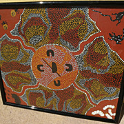 Australian aboriginal art dot painting by noted artist MYRA AH CHEE (1931-)