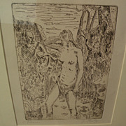 GIACOMO PICOLLO (1905-1988) modern Italian etching of Susannah and the Elders signed G. Piccolo