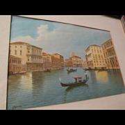Italian circa 1900 watercolor of Venice canal  with gondola