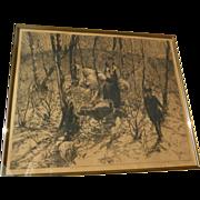 "JOHN EDWARD COSTIGAN (1888-1972) American art pencil signed etching ""Springtime"""