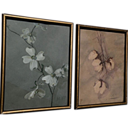 SOLD Southern  art PAIR of 1912 signed watercolor paintings of cotton bolls and dogwood blosso