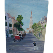 Charleston, South Carolina street view oil painting by artist Natalie Reed