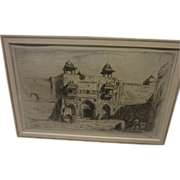 SOLD MARIUS BAUER (1867-1932) pencil signed etching of orientalist subject by Dutch noted arti
