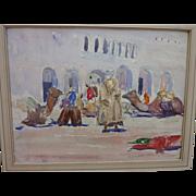 FRANK A. BROWN (1876-1962) watercolor painting of Algerian orientalist street scene