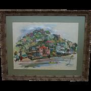 Large signed gouache painting of Corinthian Island (Tiburon) California near San Francisco