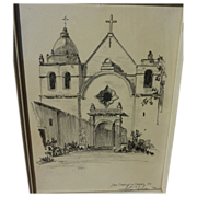 SILAS E. NELSEN (1894-1987) drawing of Mission San Carlos Borromeo at Carmel, California by no