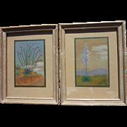 PAIR of miniature pastel landscape drawings of California desert