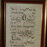 Antique music double sided antiphonal on animal skin circa 17th century