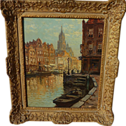 KEES TERLOUW (1890-1948) impressionist painting of Amsterdam by listed Dutch artist‏