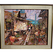 "SUJARIT HIRANKUL (1936-1982) large impressionist painting ""Fishing Village"" by major"