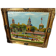 Kansas City circa 1960 signed naive style painting