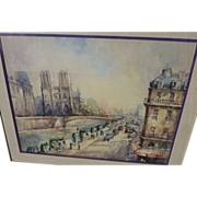 LUCIEN DELARUE (1925-) French impressionist watercolor painting of Notre Dame and the Seine in Paris