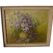 Impressionist signed 1924 oil still life floral painting