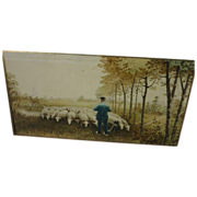 European watercolor painting of shepherd and sheep signed and dated 1900