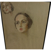 SOLD Beautifully drawn pastel on paper studies of a woman's face