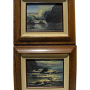 VIOLET PARKHURST (1921-2008) **PAIR** impressionist seascape paintings by popular California a