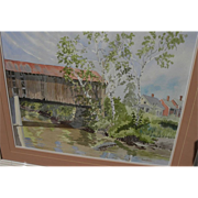 American contemporary impressionist watercolor painting of Vermont covered bridge by artist An