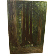 CHARLES DORMON ROBINSON (1847-1933) California plein air art oil painting of hushed forest int