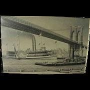 Marine art fine original pencil drawing of old time steamboat under Brooklyn Bridge by artist James Karvelas
