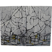 Elegant circa 1980 white/gray/black abstract painting with cubist look