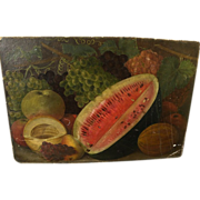 Late 19th century American still life watermelon and other fruits