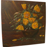 Vintage California art still life painting of poppies dated 1929 by listed artist