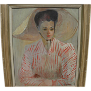 REVINGTON ARTHUR (1908-1986) American art vintage portrait of young woman in sun hat and ...