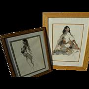JACK LAYCOX (1921-1984) California watercolor art **PAIR** paintings of nudes