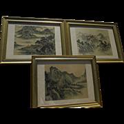 Three Asian watercolor on silk paintings