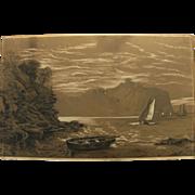 English mid 19th century drawing of boats along a dramatic coast