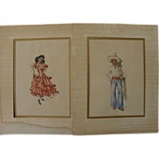 Latin American art PAIR signed watercolor paintings of young woman dancing and handsome man in