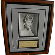 Actress and singer DORIS DAY autograph 1950 nicely framed signed canceled check to publicity p