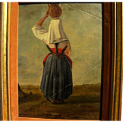 Italian 19th century painting of a woman in traditional dress balancing pot on head