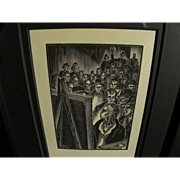LYND KENDALL WARD (1905-1985) wood engraving print by noted American printmaker