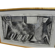 SOLD MICHAEL TYZACK (1933-2007) charcoal drawing by noted British modern artist