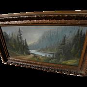 CARL SAMMONS (1883-1968) plein air California art pastel painting of Northern California lake