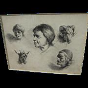 """JEAN-JACQUES DE BOISSIEU (1736-1810) fine old etching """"Cinque Tetes"""" (Five Heads)"""