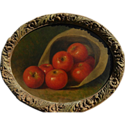 American 19th century art fine still life painting apples in a hat possibly by GEORGE HARVEY (