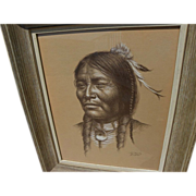 BILL HAMPTON (1925-1977) original pencil and white highlights drawing of Native American India