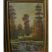 "PETER J. L. MARS (1874-1949) vintage Louisiana art oil painting ""Bayou Sauvage in the Fal"