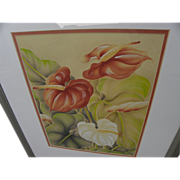 Hawaiiana air brush style art of anthuriums by noted Hawaii artist Hale Pua (Frank Oda)
