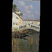 ANTONIO SANNINO (1956-) Italian art oil painting of Rialto Bridge in Venice Italy