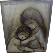 OZZ FRANCA (1928-1991) painting of two children by acclaimed California artist