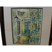 Signed ink and watercolor drawing of picturesque Mediterranean style courtyard
