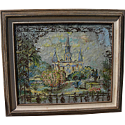 New Orleans art mixed media painting of Saint Louis Cathedral by noted Kansas City artist ...