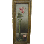 Antique skinny narrow rose painting perfect for small wall