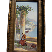 Vintage Italian gouache painting of Amalfi coast likely by member of GIANNI family of artists