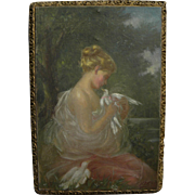 Impressionist painting of a young woman with doves in a landscape signed with initials and dat