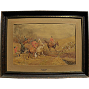 HENRY MURRAY (19th century English) detailed fine watercolor of equestrian hunt scene with dog